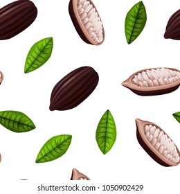Realistic 3d Fresh Raw Cocoa Beans Seamless Pattern Background on a White with Leaves Plant Ingredient Chocolate Product for Store Design Vector illustration of Cocoa Bean.