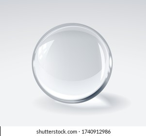 Realistic 3d glass spherical ball on light background. RGB. Global color
