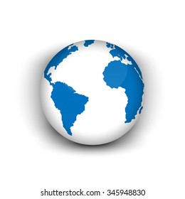3 D Globe Icon World Map Stock Vector Royalty Free 249079033