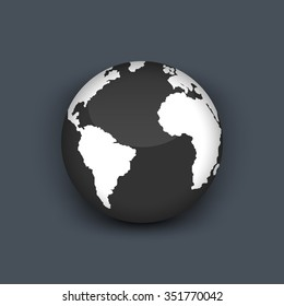Realistic 3D globe icon of the world map
