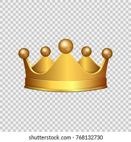 Realistic 3D Gold crown isolated on transparent background. Vector illustration. Eps 10.