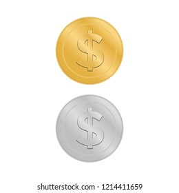Realistic 3d gold dollar coin. Coin dollar money vector