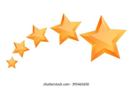Realistic 3D gold star, Award winner, Five gold stars, Good job, Vector illustration