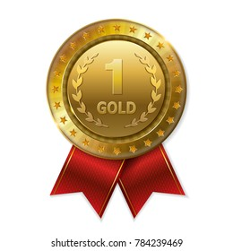 Realistic 3d gold trophy award medal for winner.  Honor prize.  Modern flat style isolated on background. Vector illustration