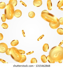 Realistic 3d golden coins explosion. Falling money with dollar sign. White background. Vector illustration.