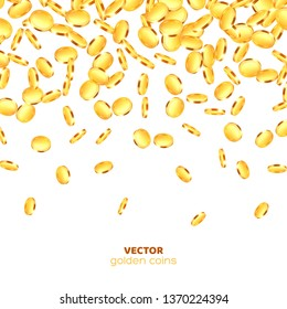 Realistic 3d golden coins explosion. Falling money isolated on white background. Vector illustration.