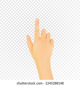 Realistic 3D hand with an index finger. Vector eps10.
