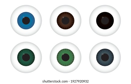 Realistic 3d human eyeball. Colored eye iris set on white background. Eye balls vector illustration