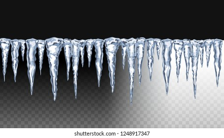Realistic 3d Icicles. Snow cap, icy icicles isolated on transparent background