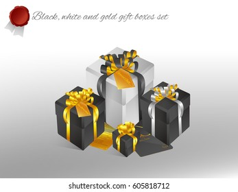 Realistic 3D illustration of white and black gift boxes with golden ribbons and bows and little accessories for celebrations, showers, special days. Vector set with grouped elements.