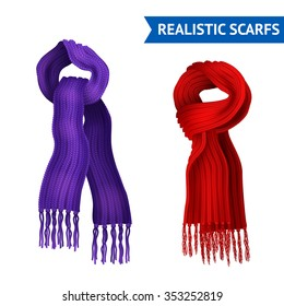 Realistic 3d image set of 2 knitted scarf purple and red color tied isolated vector illustration