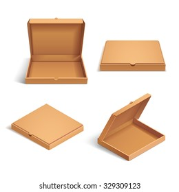 Realistic 3d isometric pizza cardboard box. Opened, closed, side and top view. Flat style vector illustration isolated on white background.