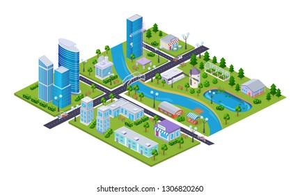 Realistic 3D isometry of big city, transportation, business centers buildings, skyscrapers, city infrastructure, traffic intersection, private houses and park. City map constructor elements vector.
