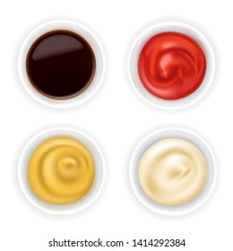 Realistic 3d ketchup, french mustard, soy sauce and mayonnaise in bowl set isolated on white background. Spice dressing composition in ramekin. Top view, vector illustration for food packaging