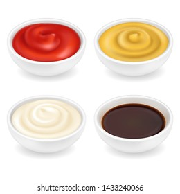 Realistic 3d ketchup, french mustard, soy sauce and mayonnaise in bowl set isolated on white background. Spice dressing composition in ramekin. Side view, vector illustration for food packaging
