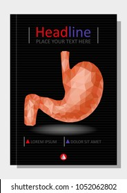 Realistic 3d low poly human stomach and duodenum. Healthy digestive system. Abstract medical concept. Cover design A4 for books, journals, conferences, reports, banners, flyer, template. Vector.