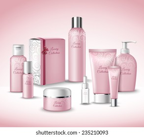 Realistic 3d Luxury Collection Cosmetics Face Beauty Care Products Packages Set Vector Illustration