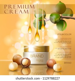 Realistic 3d macadamia nut oil cosmetic ad template. Light pink shiny serum cream mockup beauty skin care. Promotional poster template background vector illustration