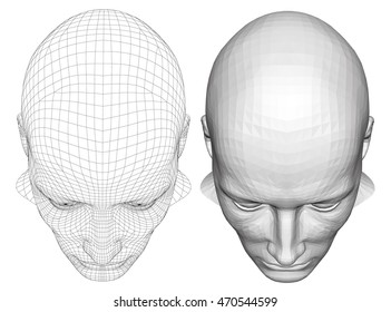 realistic 3d man head polygonal skin isolated eps 8 vector illustration of outline two poly mesh a