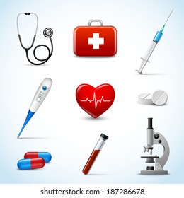 Realistic 3d medical emergency first aid care icons set with heart pill thermometer isolated vector illustration