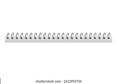 Realistic 3d metal spiral spring. Iron wired spirals for binding notebook sheets - stock vector
