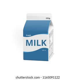 Realistic 3D Milk Carton Packing Isolated On White. EPS10 Vector
