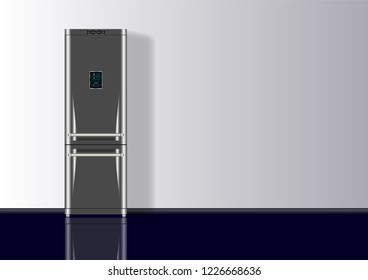Realistic 3d minimal composition background with Refrigerator. Vector Illustration