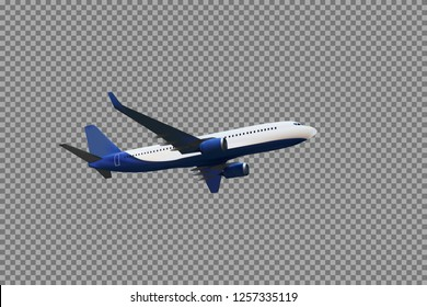 Realistic 3D model of an airplane flying in the air of white and blue coloring on a transparent background. Vector Illustration. EPS10