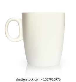 Realistic 3D model of cup white color. Vector Illustration. EPS10