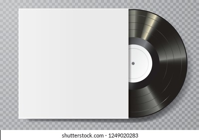 realistic 3d music gramophone vinyl LP record with blank white cover, vector illustration