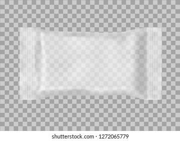Realistic 3D package on transparent background. Polypropylene pillow bag. Mock up. Vector template for design, presentation, advertising, promo. EPS 10. Front view. Horizontal.
