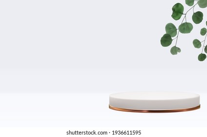 Realistic 3d  pedestal with eucalyptus leaves. Trendy empty podium display for ads cosmetic product presentation, fashion magazine. Copy space vector illustration EPS10
