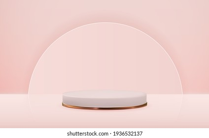 Realistic 3d  pedestal with golden ring over pink background. Trendy empty podium display for ads cosmetic product presentation, fashion magazine. Copy space vector illustration EPS10
