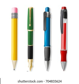 Realistic 3d Pen and Pencil Set Office or School Stationery Accessory Closeup . Vector illustration four of Pens and Pencils