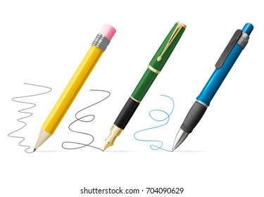 Realistic 3d Pen and Pencil Write Set Writing Message or Signature for Document. Vector illustration of Pens and Pencils