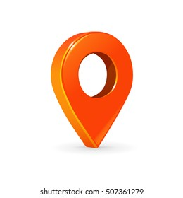 Realistic 3d pointer of map. Orange map marker icon in vector.