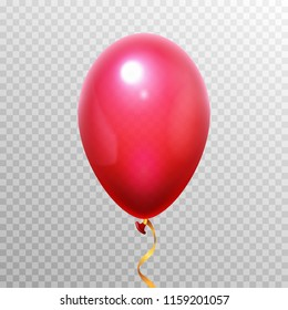 Realistic 3D red balloon. Flying helium air balloons for happy birthday party or carnival festival design decoration. Vector latex blowing object isolated on transparent background