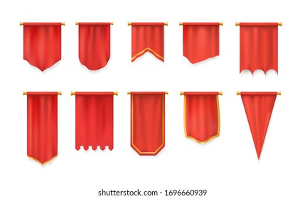 Realistic 3d red pennant textile flag, heraldic template. Advertising canvas empty banners. Samples on pole stand, fabric textile pedestal realistic. Hanging wall pennant mockup. Vector illustration.