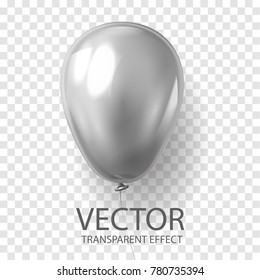 Realistic 3D render grey silver balloon vector stock illustration isolated on transparent background. Glossy shine helium balloon for wedding, Birthday celebration party, grand opening, sale promotion