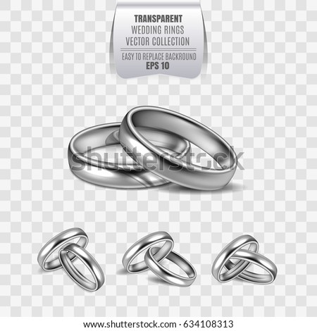 Realistic 3 D Shining Set Wedding Silver Stock Vector Royalty Free
