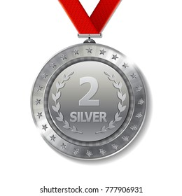 Realistic 3d silver trophy award medal for winner.  Honor prize.  Modern flat style isolated on background.  Vector illustration