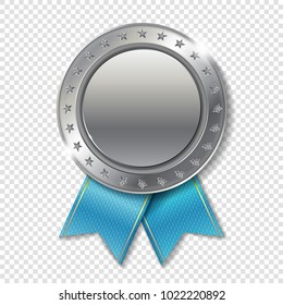 Realistic 3d silver trophy champion award medal for winner.  Honor prize.  Modern flat style isolated on transparent background. Vector illustration