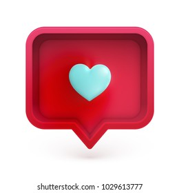 Realistic 3D speech bubble with colorful 3D heart, vector illustration