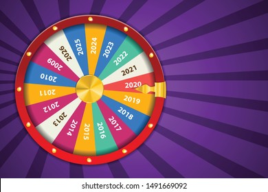 Realistic 3d spinning fortune wheel, lucky roulette Happy new year 2020 vector illustration. Abstract concept graphic gambling element