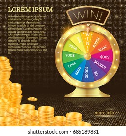 Realistic 3d spinning fortune wheel, lucky roulette vector illustration. Win! firework explosion. Gold coins stack.