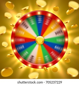 Realistic 3d spinning fortune wheel with flying golden coins. Lucky roulette. Vector illustration