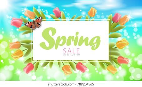 Realistic 3d spring sale script lettering web banner template. Color tulip flowers butterfly grass blue sky blue background flyer frame promotional square social poster vector illustration