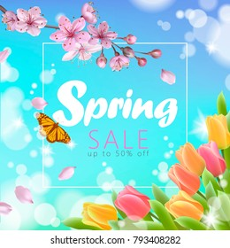 Realistic 3d spring sale script lettering web banner template. Color pink sakura cherry blossom tulip flower blue sky landscape background design shop square social poster vector illustration art