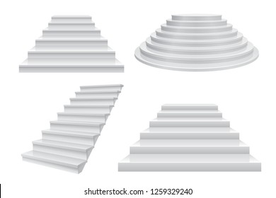 Realistic 3D staircase. Career stairs, ladder to success concept front view isolated on white. Modern business vector template