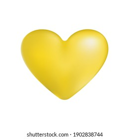 Realistic 3d style. Yellow heart isolated on white background. Vector illustration. For the design of cards, posters, banners for St valentines days.
